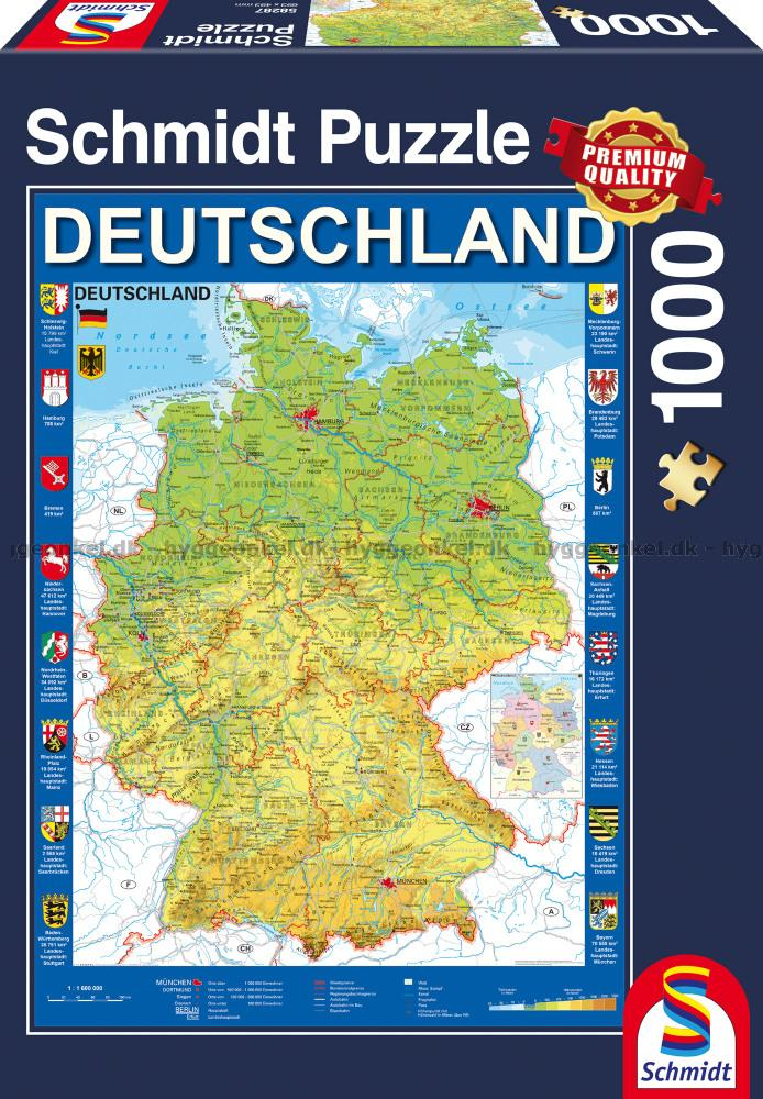 Karta Over Tyskland 1000 Bitar Pussel